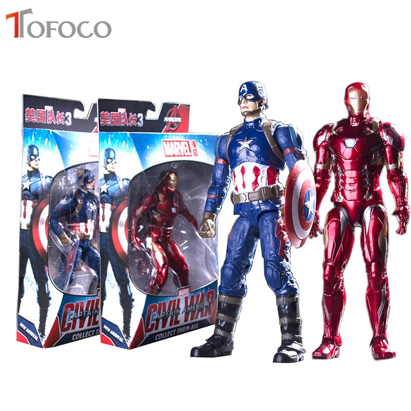 18cm Movable PVC Iron Man Figure Captain America Action Figure Toy Dolls Collectible Model Toys Hero Civil War Children Gift free shipping marvel captain america civil hawkeye pvc action figure collectible toy