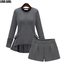 Women Sweater And Shorts Sets 2016 Autumn Tops+Shorts Europe Style Slim Long Sleeve Knitted Suit Twinset Women cashmere suit