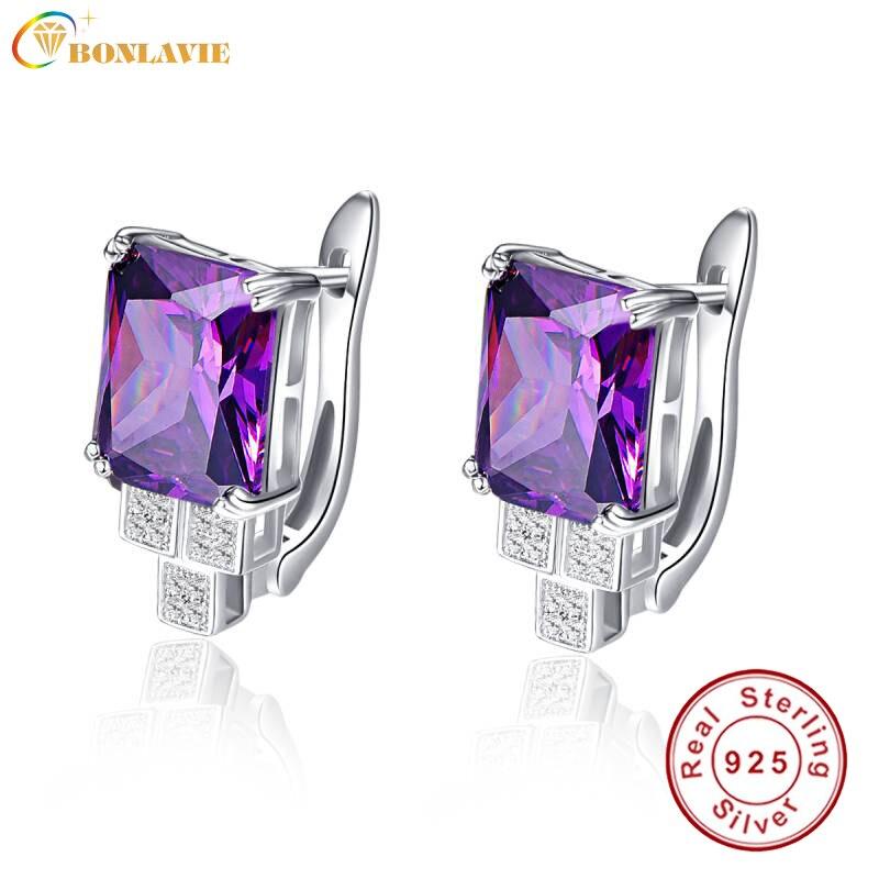 BONLAVIE Purple Piercing Earrings Clip Design Women Amethyst Stone Ear Studs 100% Silver 925 Bridal Wedding Party Fine Jewelry