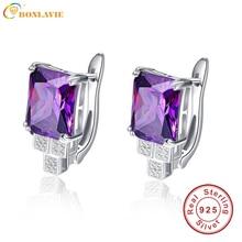 BONLAVIE Púrpura Pendientes Piercing Clip Diseño Mujeres Amethyst Stone Aretes 100% Plata 925 Partido Nupcial De La Boda Joyería Fina