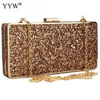 Women gold Clutch Bag Gillter evening woman handbag Purse party bag Luxury prom Party Bags Clutches silver gold bag with chain