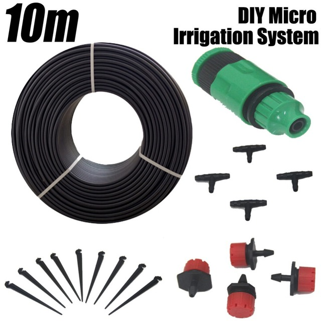 Free Shipping!10m Garden Plants Irrigation Patio Misting Cooling System 12 Micro Dripper Kit Micro Garden Water Automatic