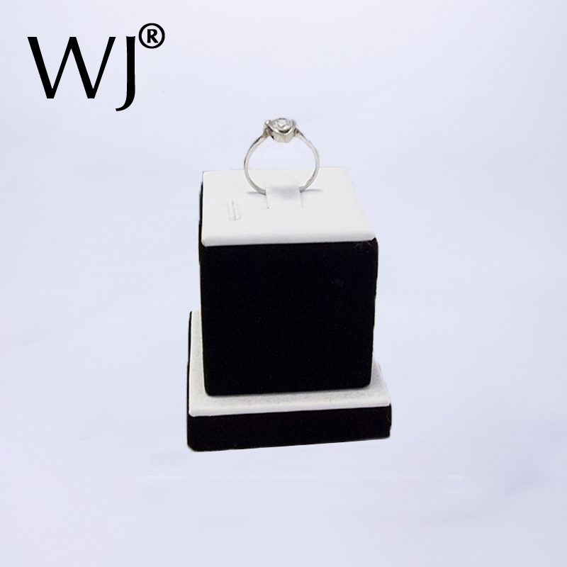 Counter Top Wedding Jewelry Ring Display Stand Holder Tower Jewellery Ring Showcase Organizer Rack White And Black Shop Decorate