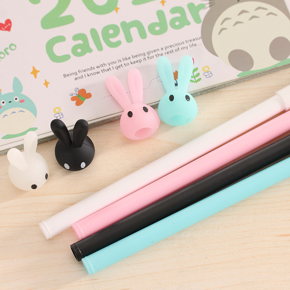 0 38mm Cute Kawaii Plastic Gel Pen Cartoon Rabbit Pen Lovely Neutral Pen For Writing Kids Gift Korean Stationery School Supplies in Gel Pens from Office School Supplies
