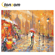 RIHE Night Street Diy Painting By Numbers Lovers Oil On Canvas Hand Painted Cuadros Decoracion Acrylic Paint Home Art