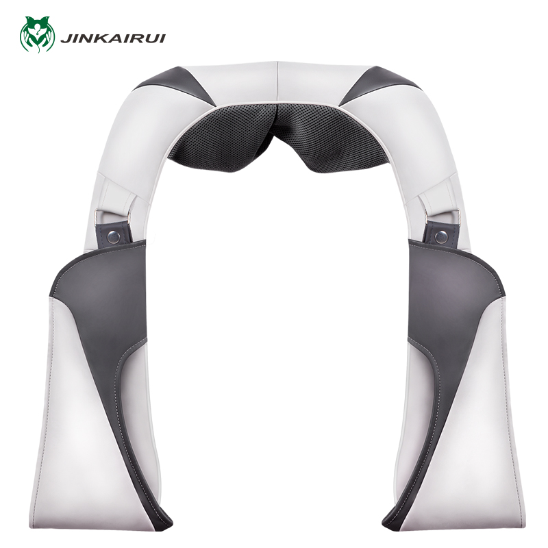 Jinkairui Charge Shoulder Neck Kneading Massage Shawl Silicone Massage Head Extension Velcro Car/ Home Travel Carry top grade vibration and kneading massage machine shoulder neck massage shawl car home dual use kneading neck shoulder massager