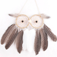 Original Owl Shape 2 Ring Dream Catcher Feather Pendant Handmade Dream Catcher Wall Car Hanging Decor