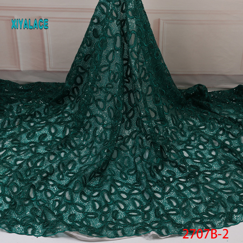 Green 2019 High Quality Nigerian Lace African Lace Fabric Fabrics Organza Sequins Embroidery French Tulle Lace Fabric YA2707B-2