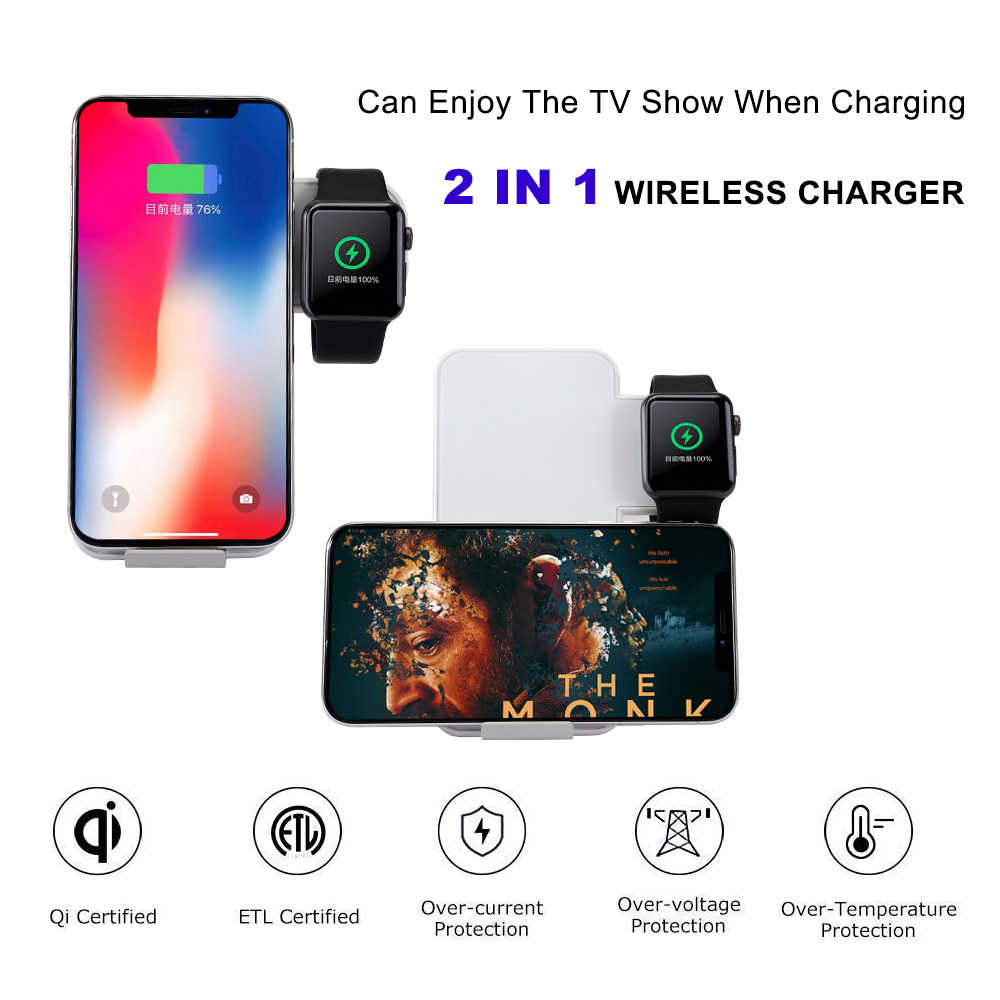Cargador inalámbrico QI de 10W para iPhone XS Max XR X 8 Apple watch 1 2 3 4 estación de carga inalámbrica rápida para Samsung S9 S10