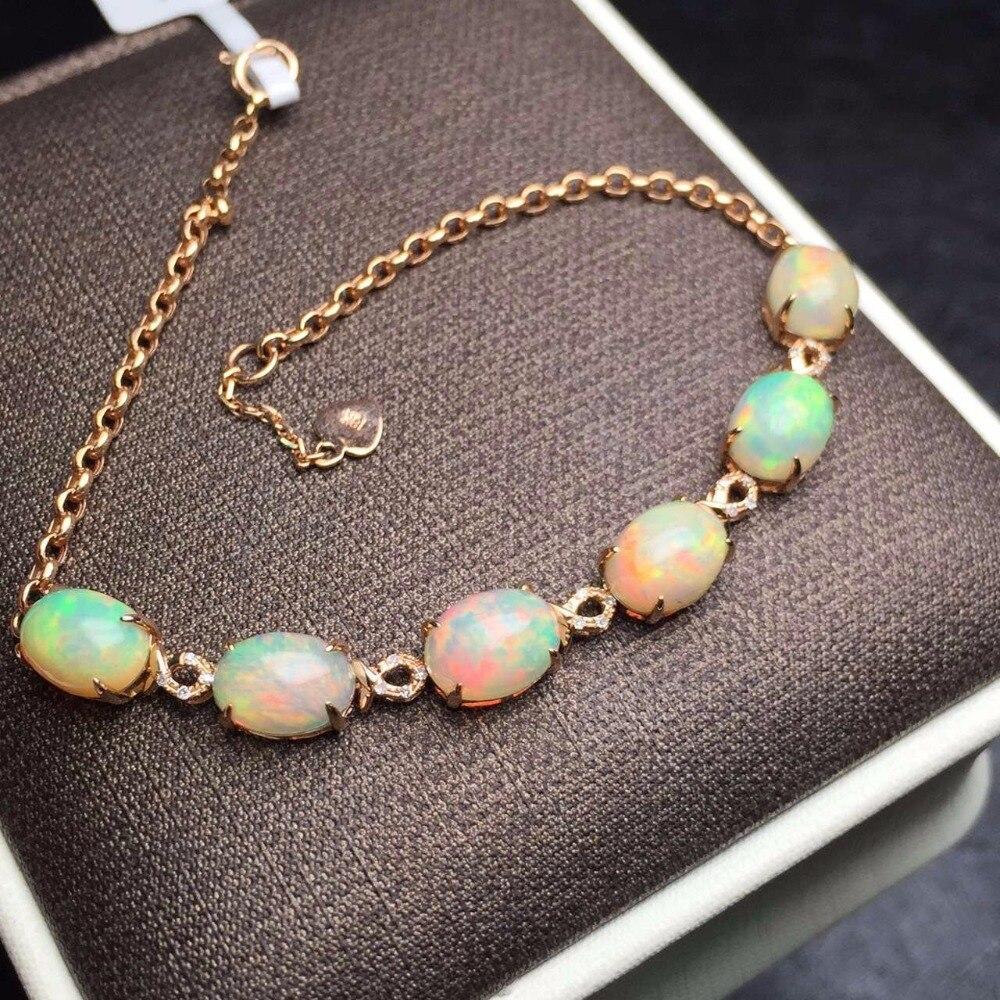 Fine Jewelry Real 18 K Ouro Rosa AU750 G18K 100% AU Natural Pedras de Opala Amor Pulseiras Jóias para as mulheres Bem pulseira