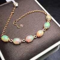 Fine Jewelry Real 18K Rose Gold AU750 G18K 100% Natural AU Opal Gemstones Love Jewellery Bracelets for women Fine Bracelet