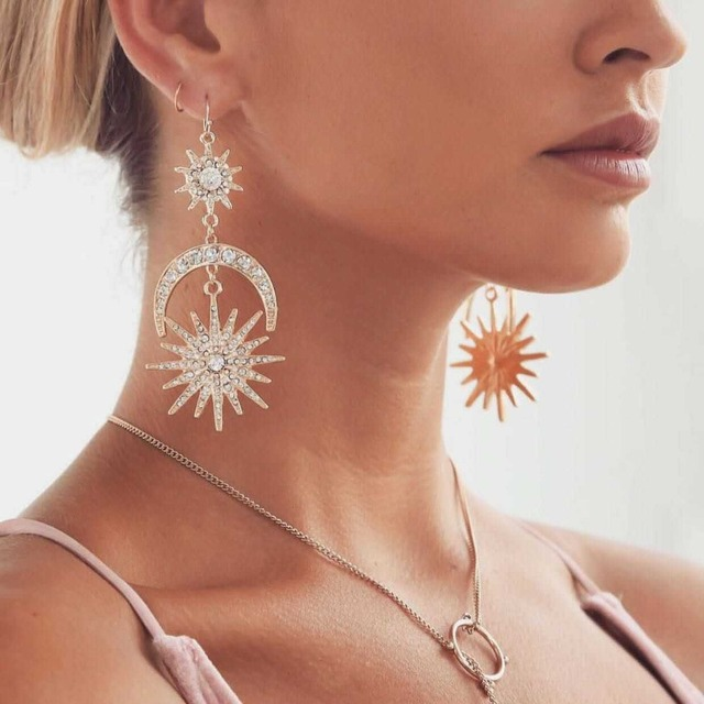 Big luxury Sun Moon Drop Earrings Rhinestone Punk Earrings for women Jewelry Gol