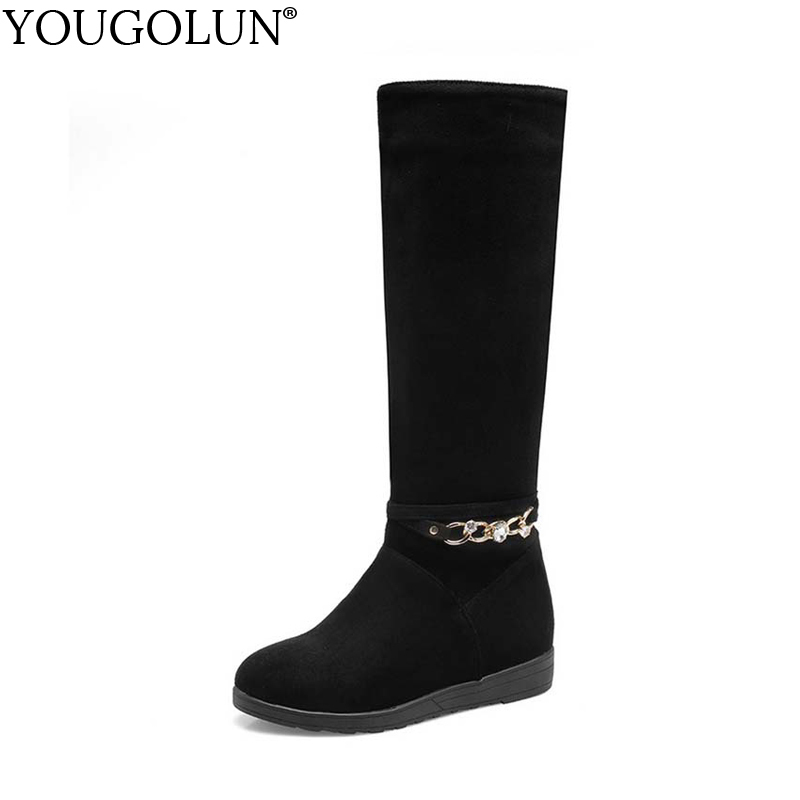 YOUGOLUN Women Knee High Boots 2017 New Autumn Winter PU Chains Crystal Low Heel Wedges Heels Black Round toe Shoes #Y-194 enmayla winter autumn round toe low heel knee high boots women flats lace up shoes woman rider brown black suede motorcycle boot