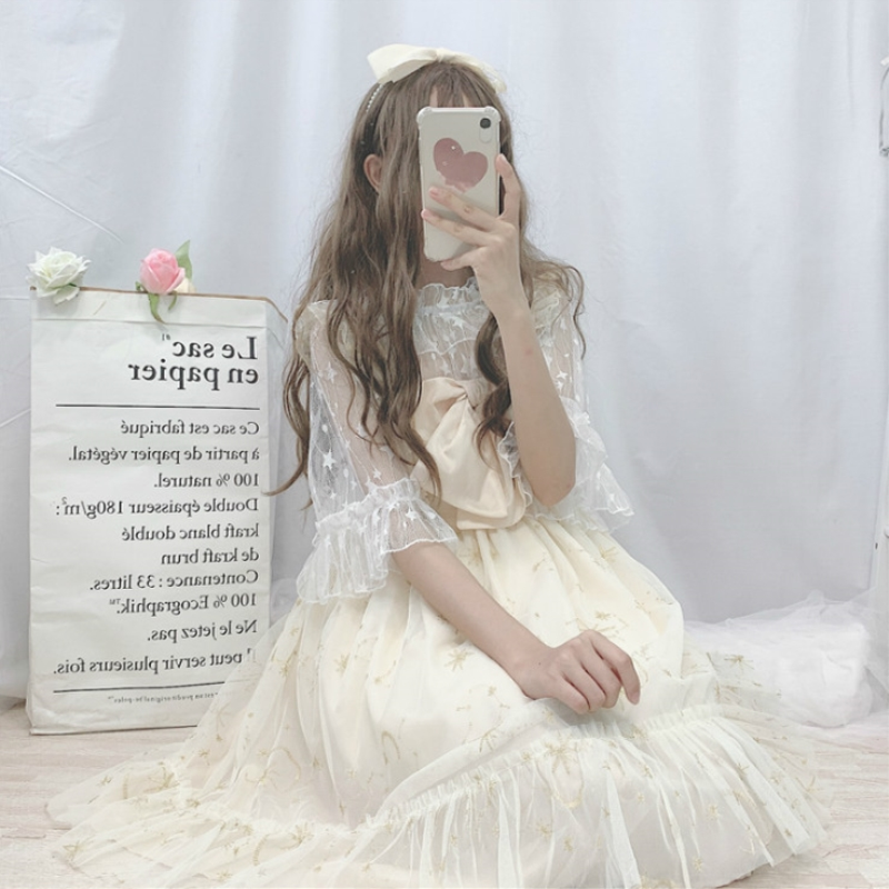 Kawaii Lolita Dress Soft Girl Summer Super Fairy Bow Mesh Embroidery Lolita Daily Sling Dress Female