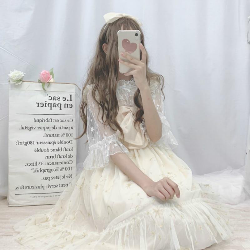 Kawaii Lolita Dress Soft Girl Summer Super Fairy Bow Mesh Embroidery Lolita Daily Sling Dress Female