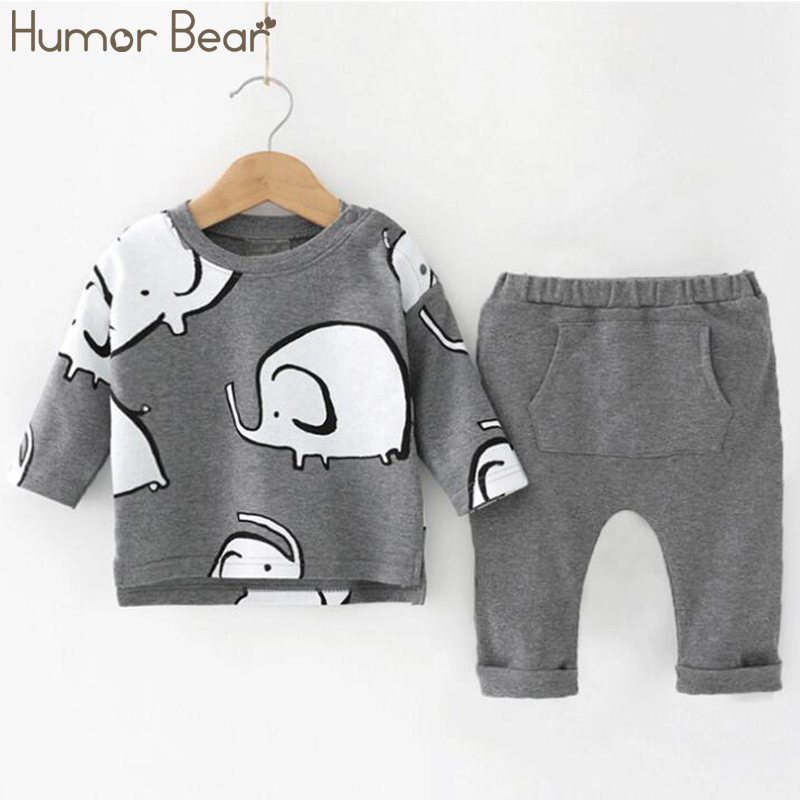Humor Bear Baby Boys Clothes Baby Boys Clothing Sets Fashion Cartoon Style Long Sleeve + Pants 2PCS Suits 1
