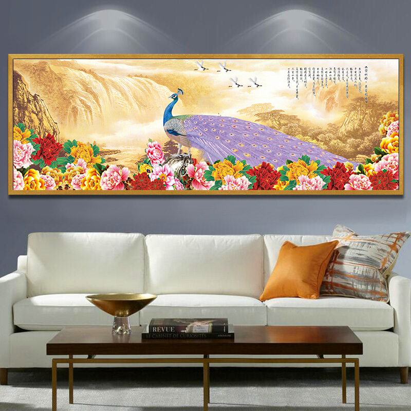Us 4 58 10 Off Peacock Flowers Landscape Hanging Wall Art Chinese Flowers Abstract Painting Large Size Canvas Big Wall Painting Decoration Home In