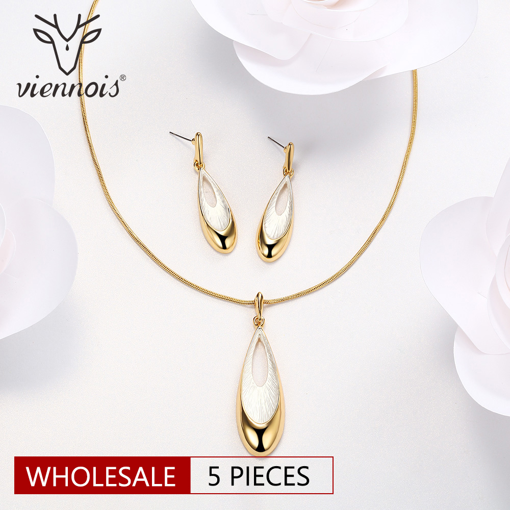 Viennois Gold Silver Color Jewelry Set for Women Water Drop Necklace & Pendant Drop Earrings Female Party Wedding Jewelry Sets pair of sweet simply designed water drop pattern pendant earrings for women