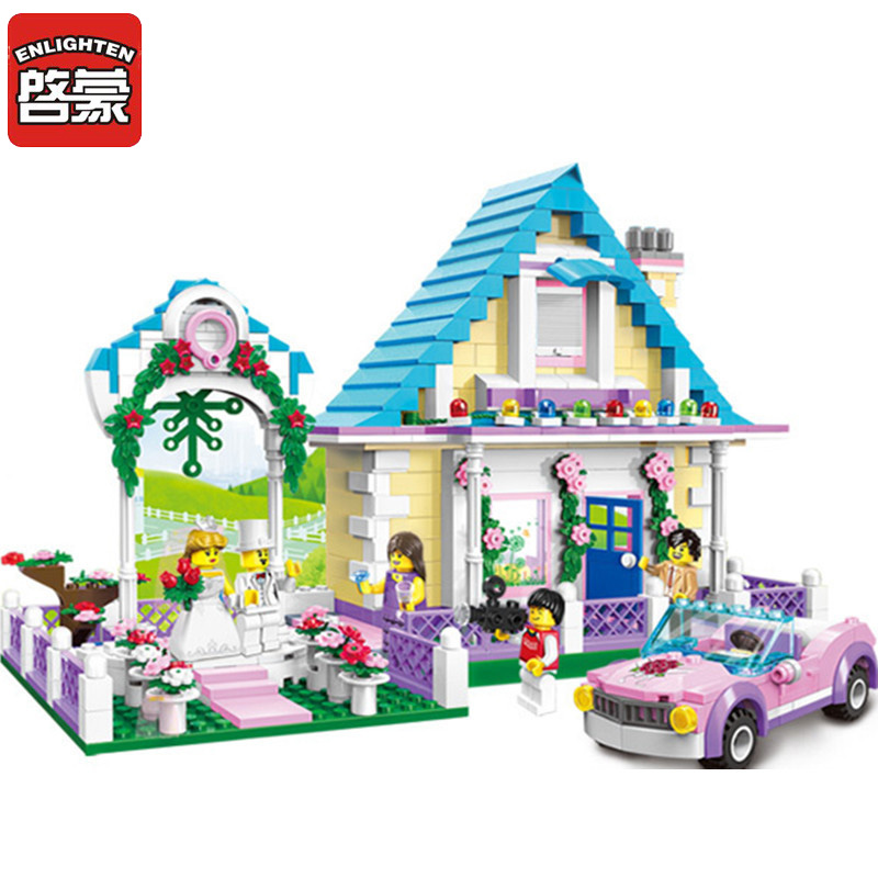 Enlighten NEW Blocks Girl City Marriage Room Model Blocks Princess Castle Building Blocks Playmobil Toys For Children brinquedos
