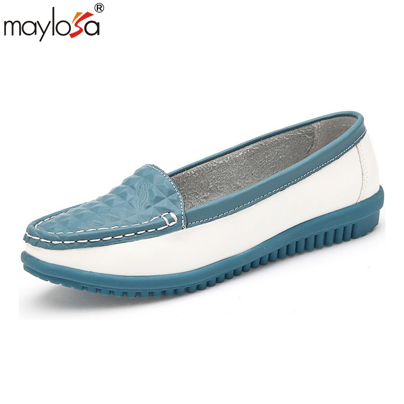 MAYLOSA Genuine Leather Oxford Shoes For Women Round Toe Lace-Up Casual Shoes Spring And Autumn Flat Loafers Shoes tfsland men women genuine leather loafers students white shoes unisex spring round toe lace up breathable walking shoes sneakers