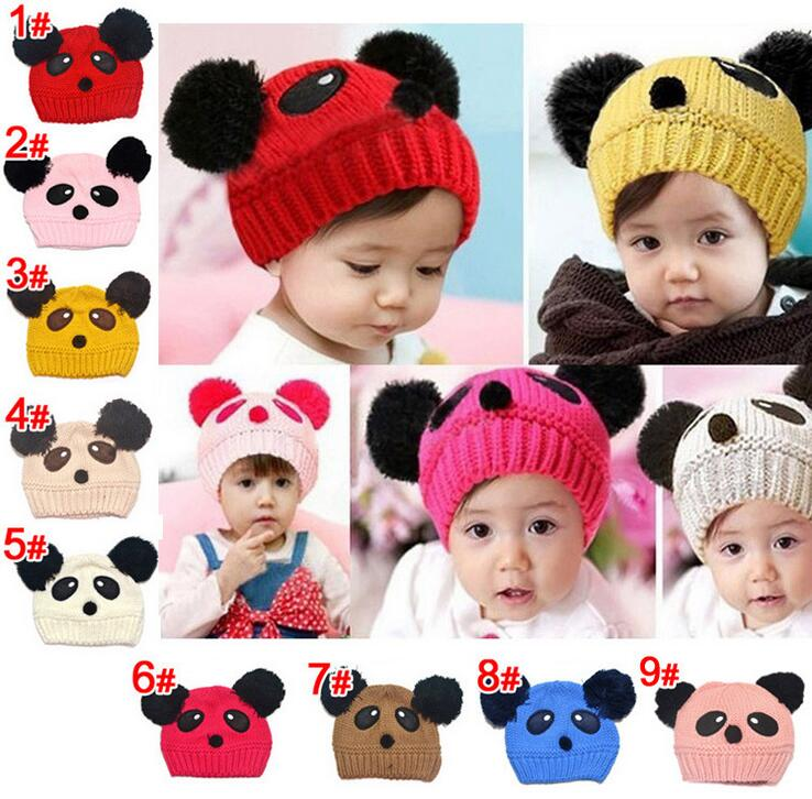 ⑧2016 Panda forma Lovely Girl Boy sombreros, bebé del invierno ...