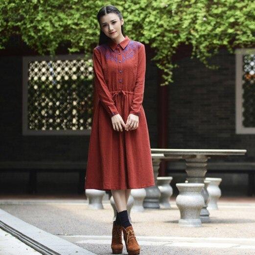 2015 Winter A Line Mori Girl Boho Dress Plus Size Loose Women Red