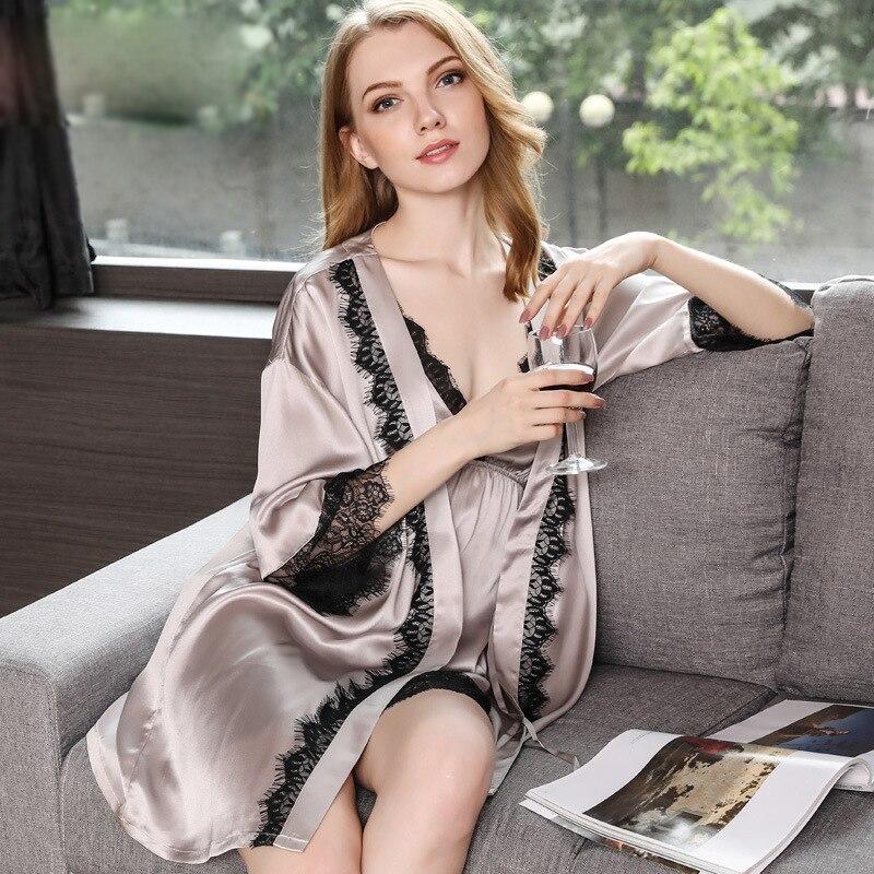 セクシーな 100% 本物のシルク 2 ピースシルクローブセット女性ホームウェア浴衣ドレスセット高貴寝間着 kimomo 女性の睡眠のドレス  グループ上の 下着 & パジャマ からの ローブ & ガウンセット の中 1