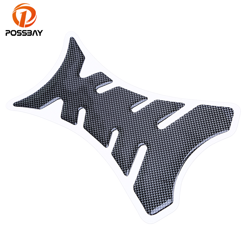 POSSBAY 3D Carbon Fiber Motorcycle Gas Oil Fuel Tank Pad Protector Decal Stickers For Honda Harley Yamaha Street For Fishbone