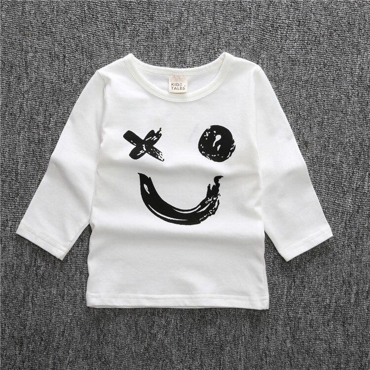 Moda algodón de manga larga o cuello carta sonrisa cara infantil niña camisa  blanca blusa 698a24dda6c0e