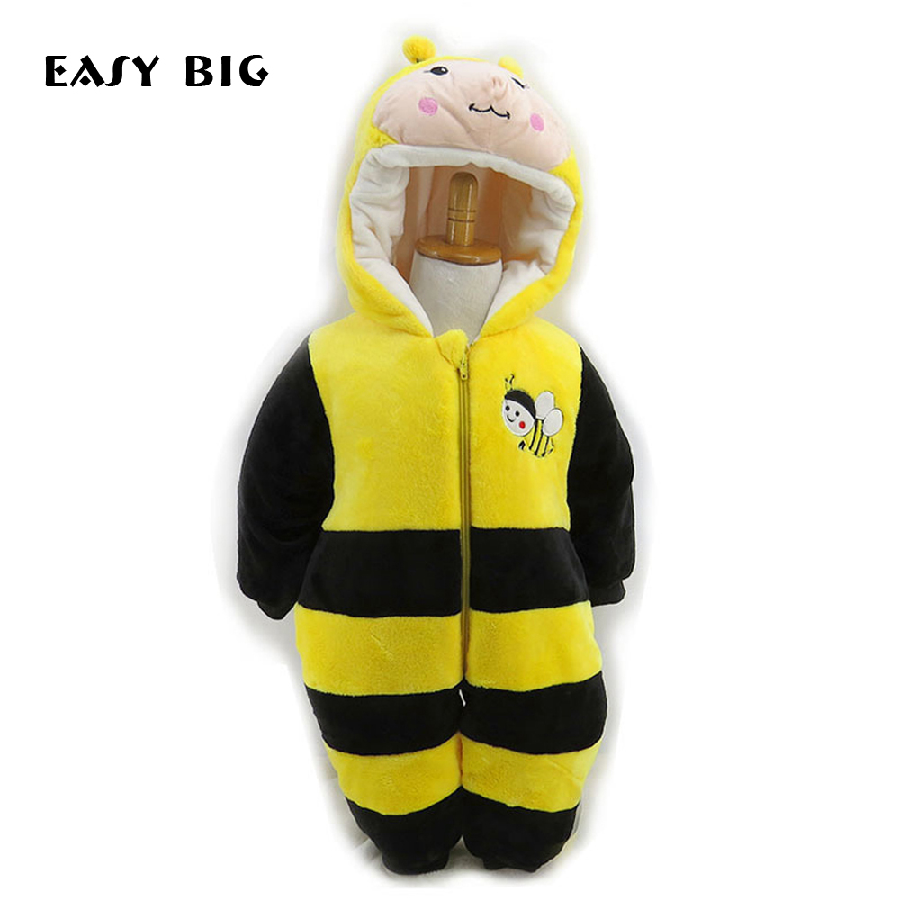EASY BIG Ultra-soft Lovely Baby Girls Clothing Fleece Winter Boy Rompers Cartoon Infant Clothes Baby Snowsuit Babies Jumpsuits winter newborn baby girls clothing boys rompers cartoon infant clothes down snowsuit babies jumpsuits christmas clothing 2016