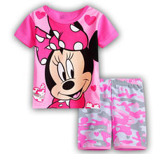 2019 Casual Homewear Pajamas T-shirt Cartoon Cotton Minnie Childrens Sets Baby Girls Shorts Kids Clothing Summer