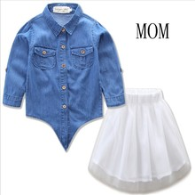 Mother Daughter Clothes Family Look Mum Daughter Denim Jeans Blouse and Tutu Skirt Mama Baby Clothing Set 2pcs Family Clothing