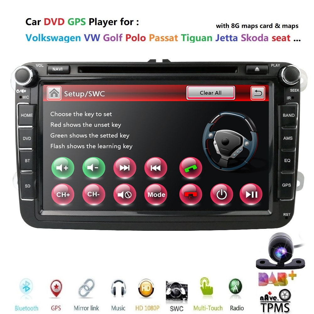 Car DVD Player 8 WINCE system for Volkswagen VW Jetta Golf Passat Polo Tiguan Skoda Fabia