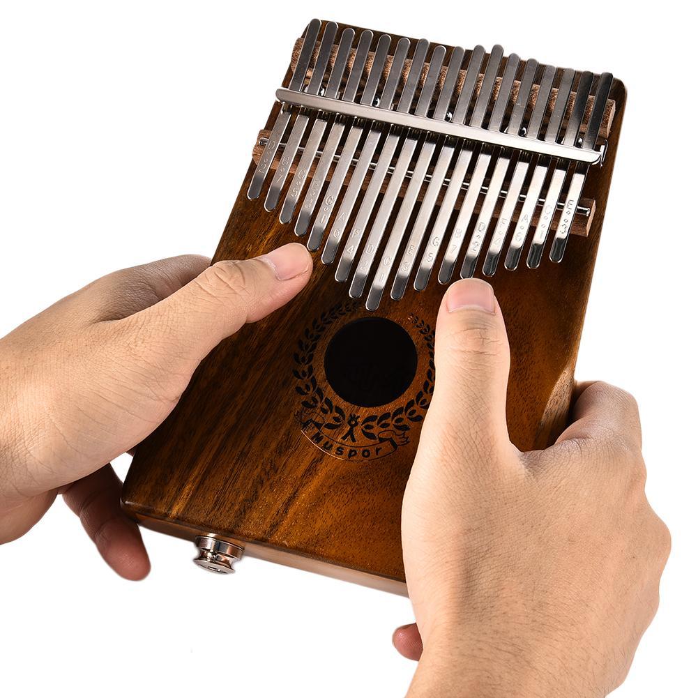 17 touches EQ Kalimba Solide Acacia Piano à pouces Lien Haut-Parleur Électrique Ramassage Avec Sac Câble - 3