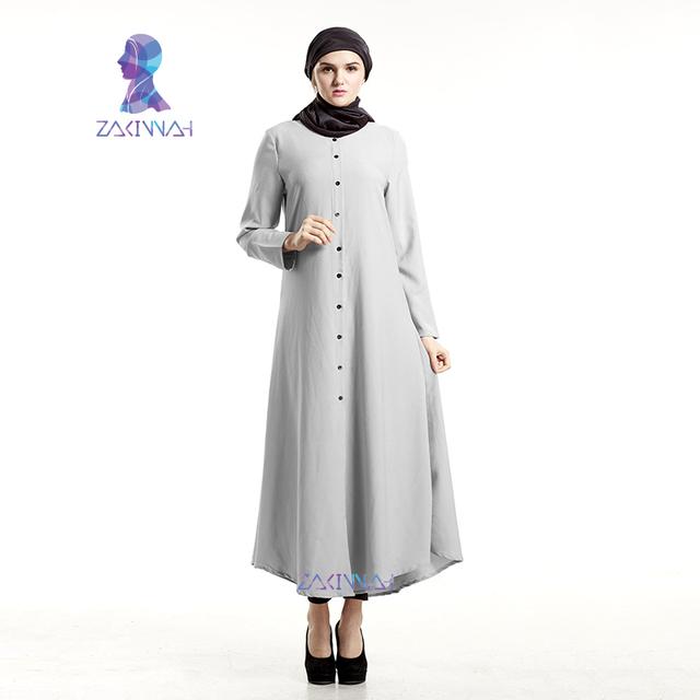 Zakiyyah frete grátis sólidos manga comprida mulheres abayas islâmico muçulmano vestido novo ocasional vestido de roupão turco