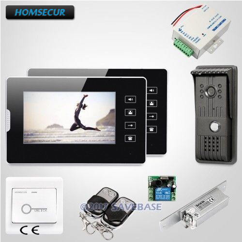 HOMSECUR 1V2+Strike Lock Wired 7 Video Door Phone Intercom with Touch Panel Monitor for Home Security