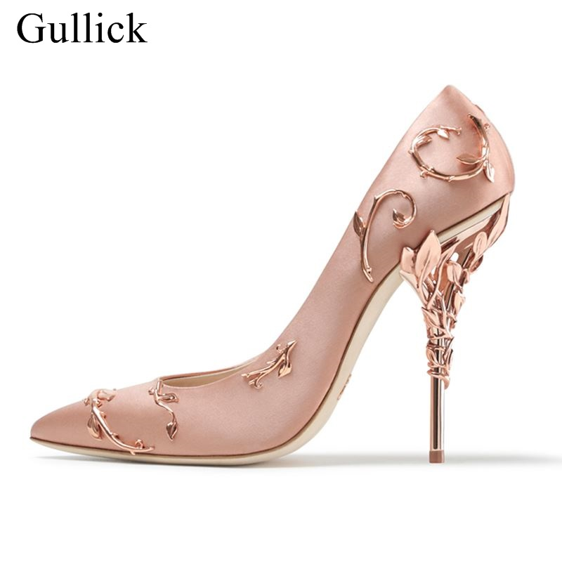 Satin Metal Leaves Embellished Pumps Women Pointed Toe Thin High Heel Party Dress Stiletto Wedding Party Runway Shoes Size 10 high quality suede wedding party dress shoes women pointed toe stiletto brand pumps bow fringe embellished high brands