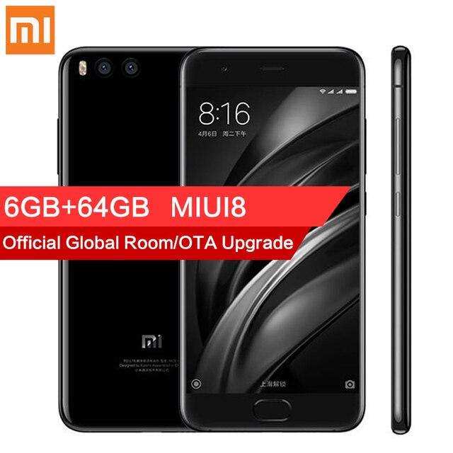 """Оригинал Xiaomi Mi 6 Ми-6 Мобильного Телефона 6 ГБ RAM 64 ГБ Snapdragon 835 5.15 """"12MP Окта основные 1920x1080 P NFC Dual Фотоаппараты Быстрая Зарядка"""
