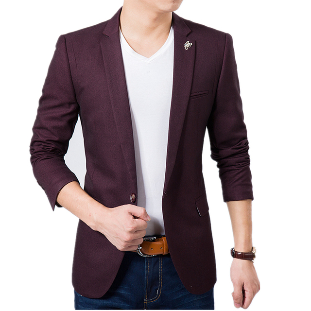 Hot!! Stylish men's blazer suit 2016 Men's Casual Slim fit Blazer ...