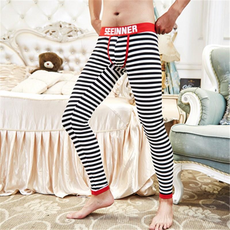 Cotton & Spandex Men's Thermal Underwear Sexy U-Convex Strips Fashion Long Johns Sleepwear Leggings Men Stretch & Tight Trousers