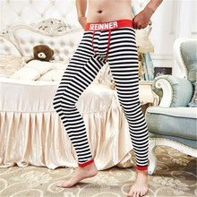Cotton & Spandex Men's Thermal Underwear Sexy U-Convex Strips Fashion Long