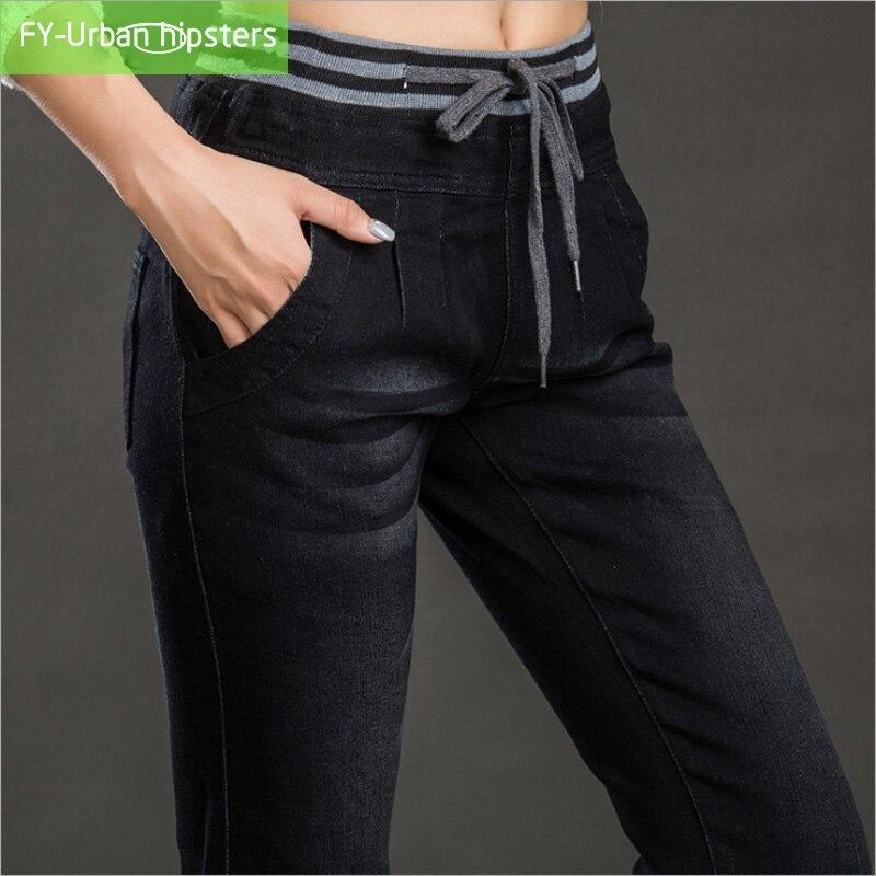 fall fashion 2018 womens lace up   jeans   woman stretch Pleated high waist Elastic   jeans   Plus Size feminina loose harem pants   jeans