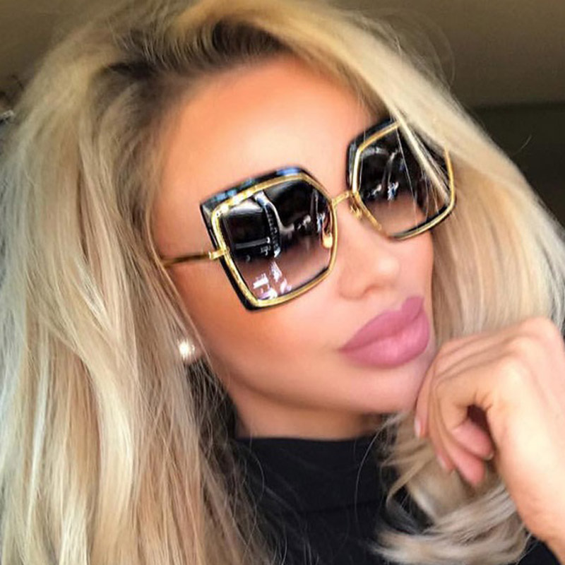 MIZHO Oversized Sunglasses Woman Shades Mirror Female Square Sun Glasses For Female Coating Gafas Fashion Brand Sunglasses Wome