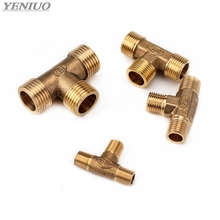 Copper 1/8 1/4 3/8 1/2 3/4 1BSP Male Thread Tee Type 3 Way Brass Pipe Fitting Adapter Coupler Connector For Water