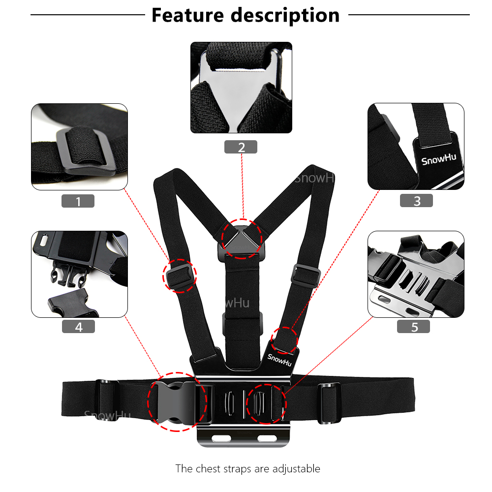 SnowHu para Gopro accesorios set para go pro hero 7 6 5 4 kit de montaje para SJCAM SJ4000 para cámara xiaomi yi para eken h9 trípode GS24 - 4