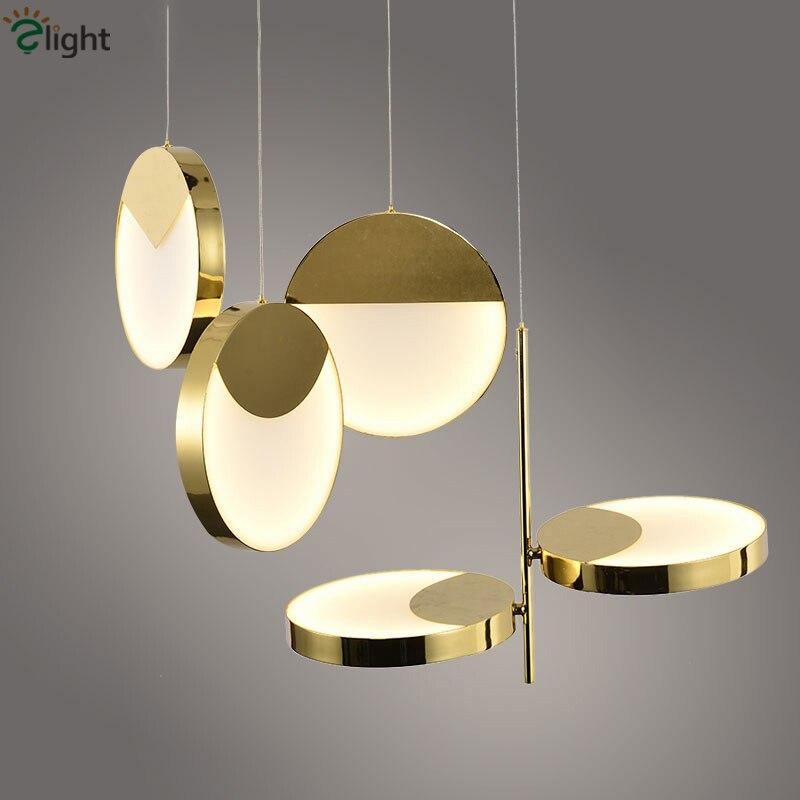 Lumières de pendentif LED en métal plaqué or rond 1 lampe de pendentif LED lampe suspendue lampe suspendue luminaires de salle à manger
