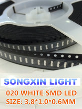 5000PCS 020 White 3806 3810 Side View SMD/SMT Original SMD led side view 020 white LED lamp light 1800-2500MCD 3.8*1.0*0.6mm(China)