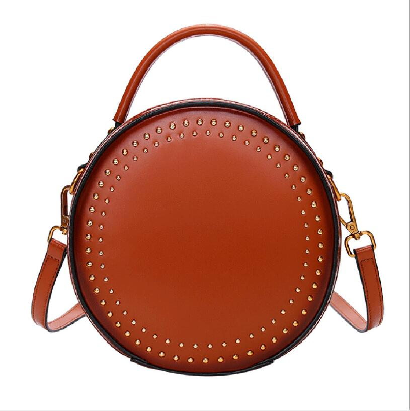 Bolsa do Couro genuíno Novo saco Do Mensageiro feminino bolsa de couro do couro bolsa de ombro vintage rebite simples pequeno saco rodada - 2