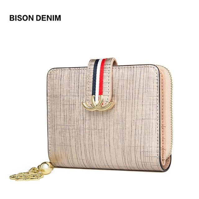 BISON DENIM Genuine Leather Women's Purse Ladies Money Bag Zipper Coin Wallet Card Holder Travel Wallet carteira feminina N3275
