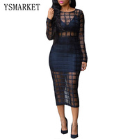 2017 New Sexy Mesh Plaid Patchwork Midi Dress Solid Black Party Club Wear Long Sleeve Split